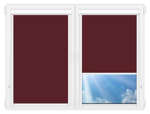 Рулонные кассетные шторы УНИ - Аргентум-бордовый на пластиковые окна