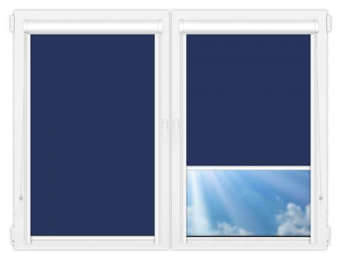 Рулонные кассетные шторы УНИ - Аргентум-синий на пластиковые окна