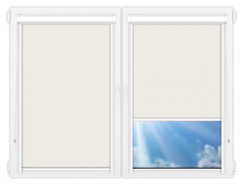 Рулонные кассетные шторы УНИ - Аргентум-светло-бежевый на пластиковые окна