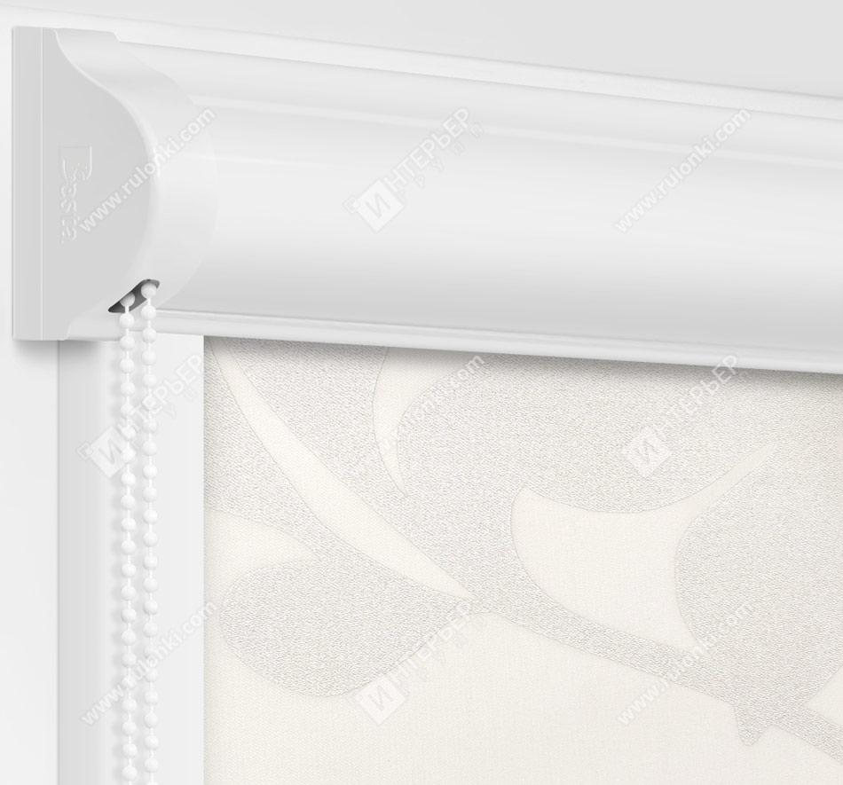 Рулонные кассетные шторы УНИ - Ажур белый