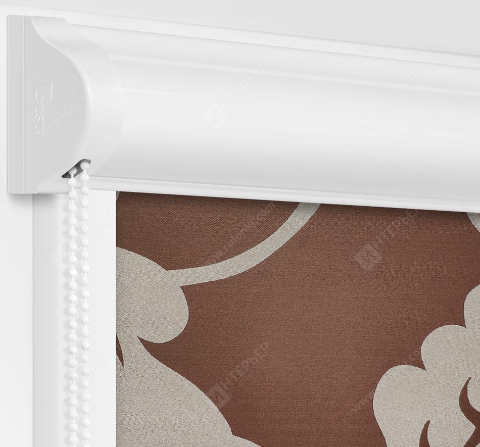 Рулонные кассетные шторы УНИ - Ажур коричневый