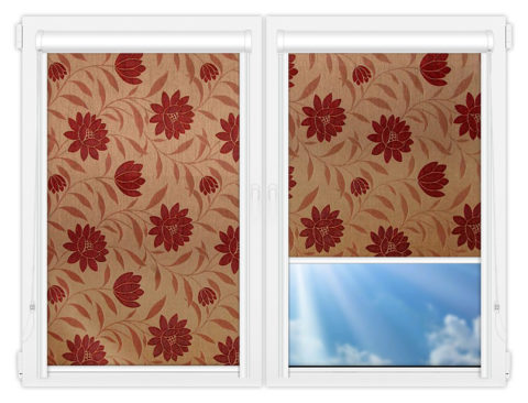 Рулонные кассетные шторы УНИ - Далия-красный на пластиковые окна