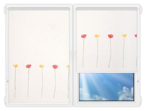 Рулонные шторы Мини - Гербера на пластиковые окна