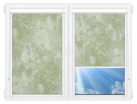 Рулонные кассетные шторы УНИ - Клаудиа-блэкаут-грин на пластиковые окна