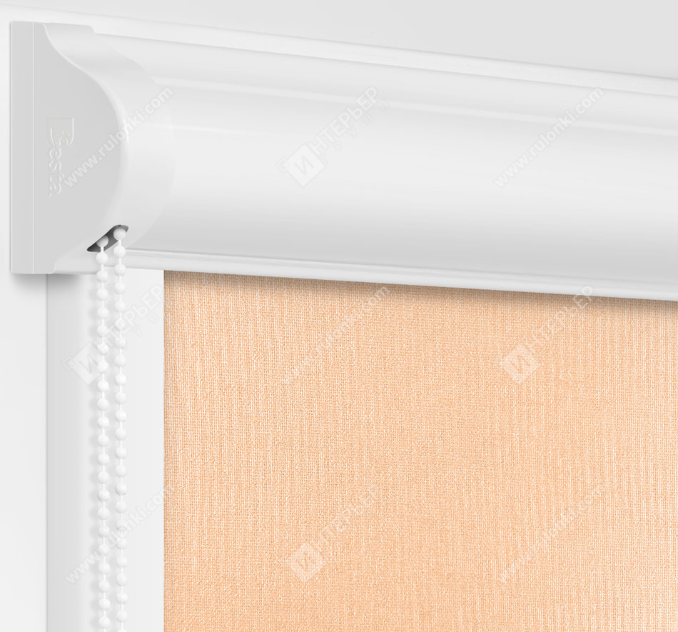 Рулонные кассетные шторы УНИ - Металлик персиковый