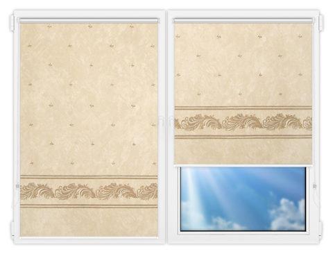 Рулонные шторы Мини - Орнамент-блэкаут-бейж на пластиковые окна