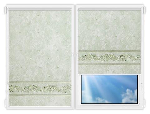 Рулонные шторы Мини - Орнамент-грин на пластиковые окна
