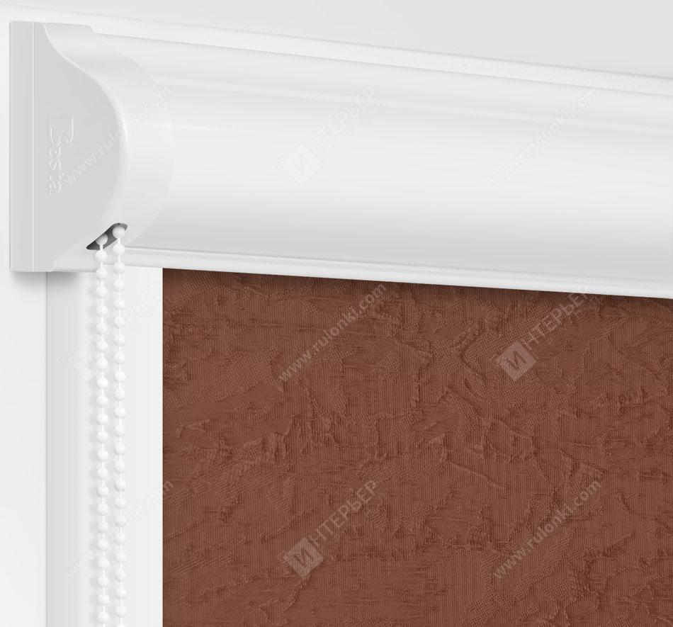 Рулонные кассетные шторы УНИ - Шелк коричневый