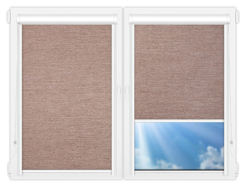 Рулонные кассетные шторы УНИ - Валенсия-темно-бежевый на пластиковые окна