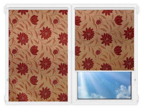 Рулонные шторы Мини - Далия-красный на пластиковые окна
