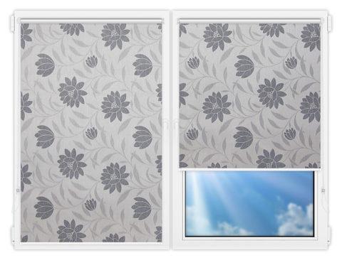 Рулонные шторы Мини - Далия-серый на пластиковые окна