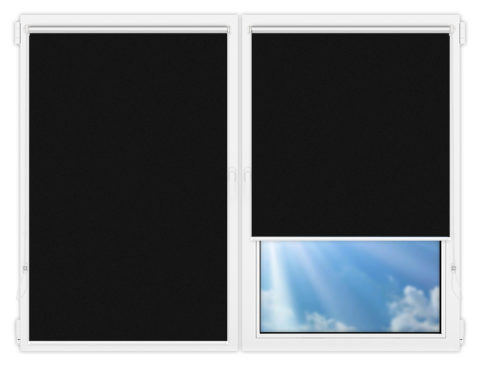 Рулонные шторы Мини - Силк-скрин-алю-черный на пластиковые окна