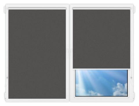 Рулонные шторы Мини - Силк-скрин-алю-темно-серый на пластиковые окна
