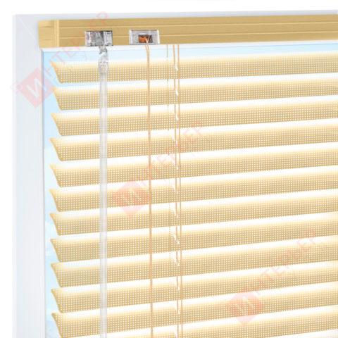 Горизонтальные перфорированные алюминиевые жалюзи на пластиковые окна - цвет перламутрово-золотой