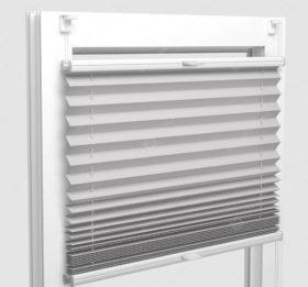 Шторы Плиссе - Аида светло-серый на пластиковые окна