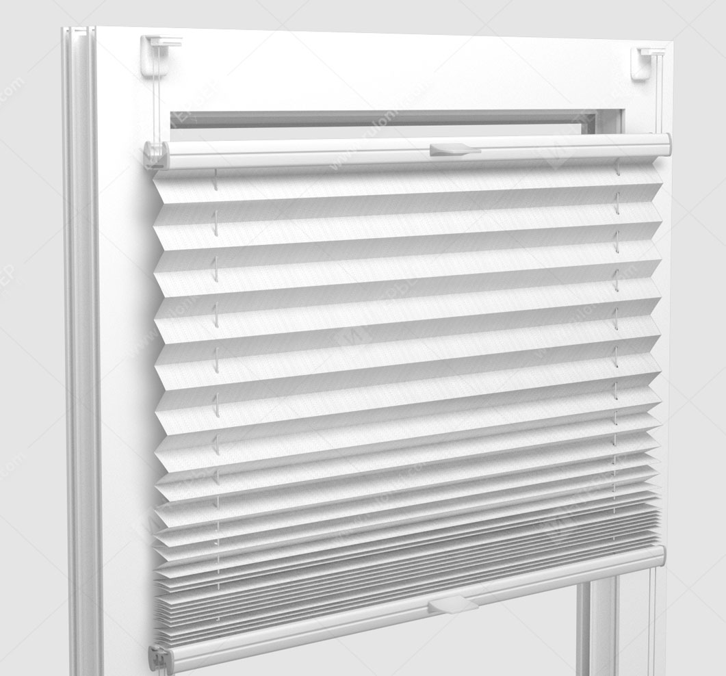 Шторы Плиссе - Бароло перл белый на пластиковые окна