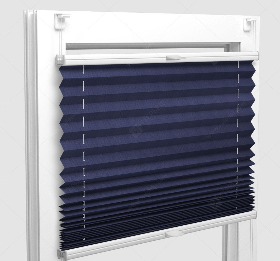 Шторы Плиссе - Бароло перл синий на пластиковые окна