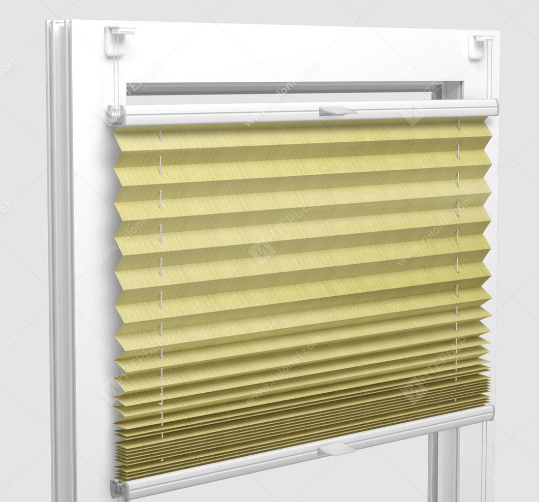 Шторы Плиссе - Бароло перл желтый на пластиковые окна