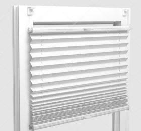 Шторы Плиссе - Базель-белый на пластиковые окна