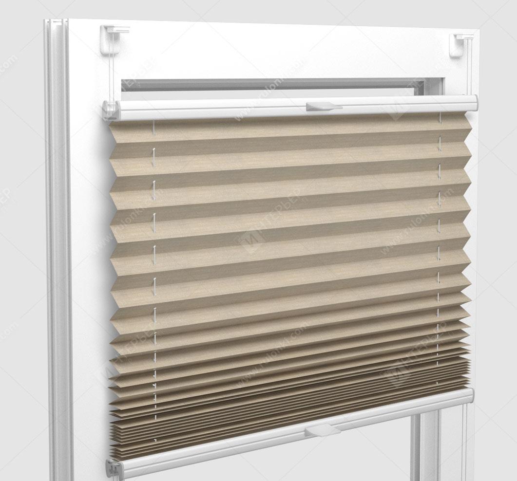 Шторы Плиссе - Флаер перл песочный на пластиковые окна