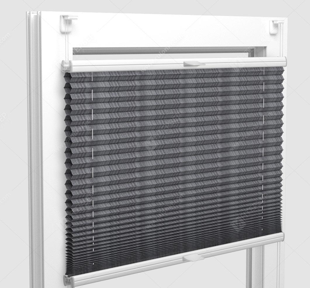 Шторы Плиссе - Капри серый на пластиковые окна