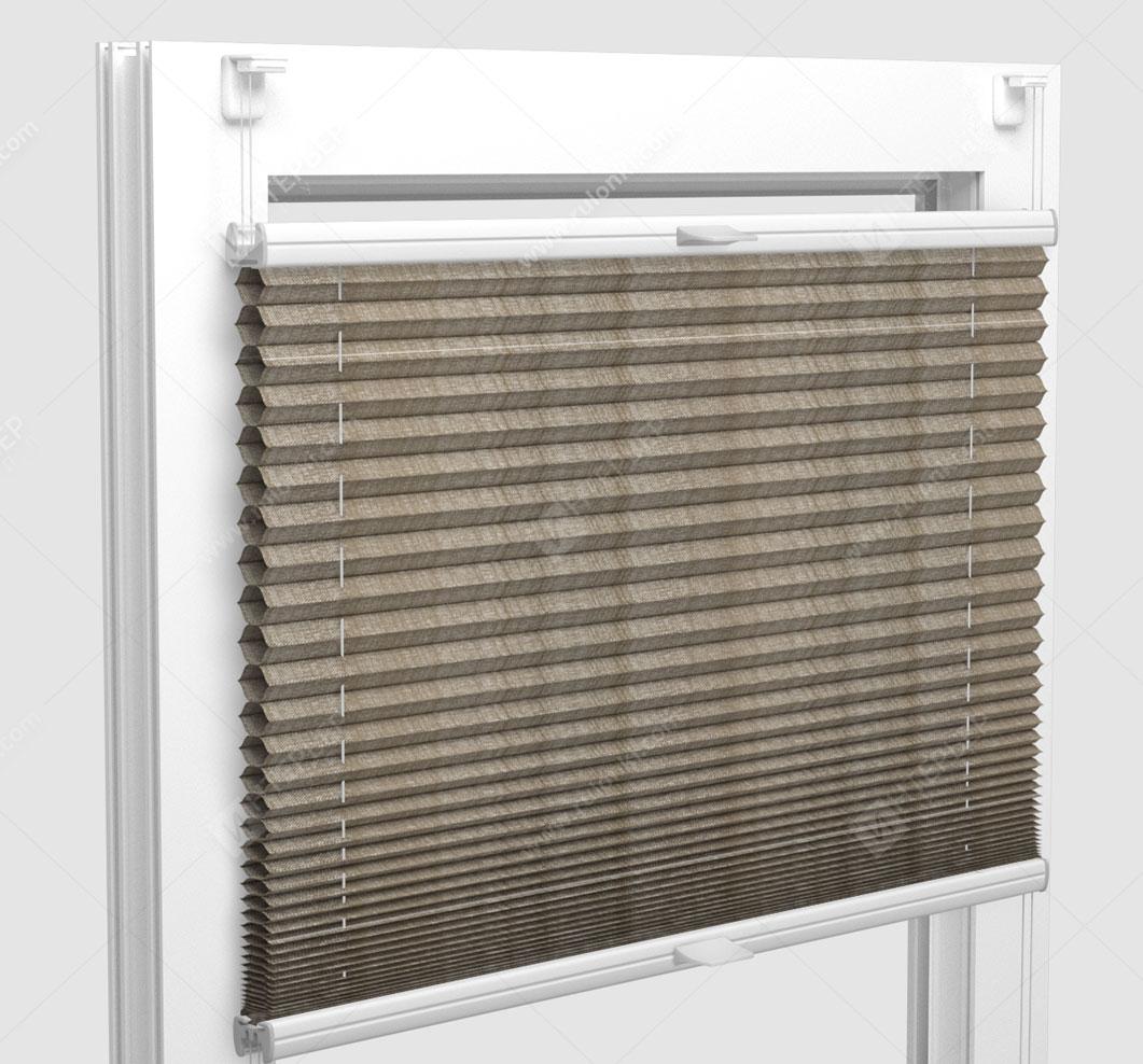 Шторы Плиссе - Капри светло-коричневый на пластиковые окна