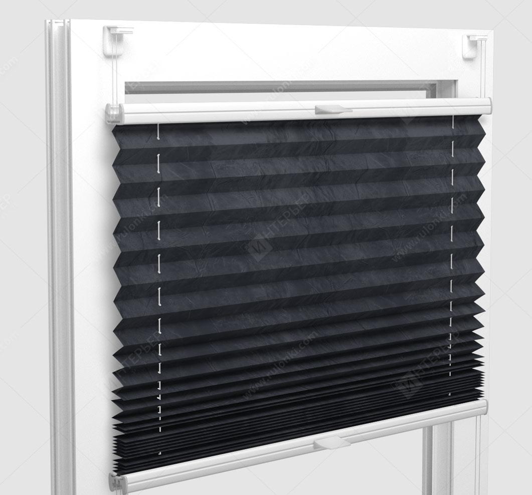 Шторы Плиссе - Краш металлик черный на пластиковые окна