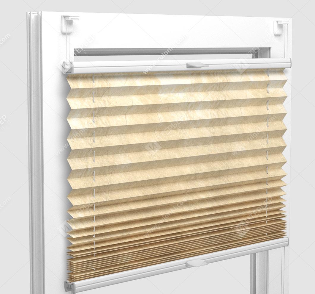 Шторы Плиссе - Краш металлик золото на пластиковые окна