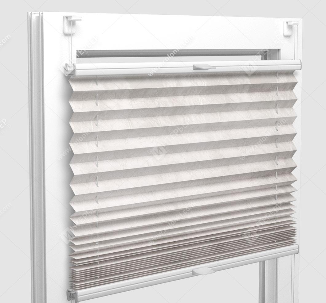 Шторы Плиссе - Краш перл бежевый на пластиковые окна