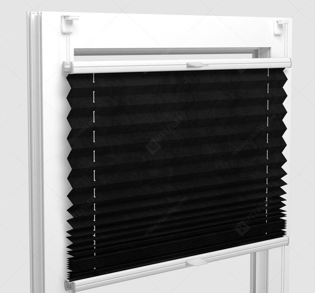 Шторы Плиссе - Краш перл черный на пластиковые окна