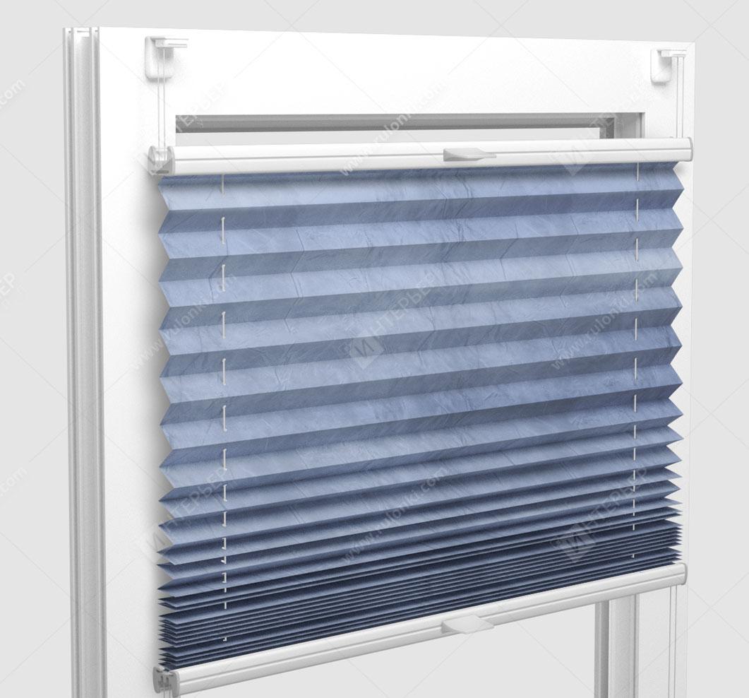 Шторы Плиссе - Краш перл голубой на пластиковые окна