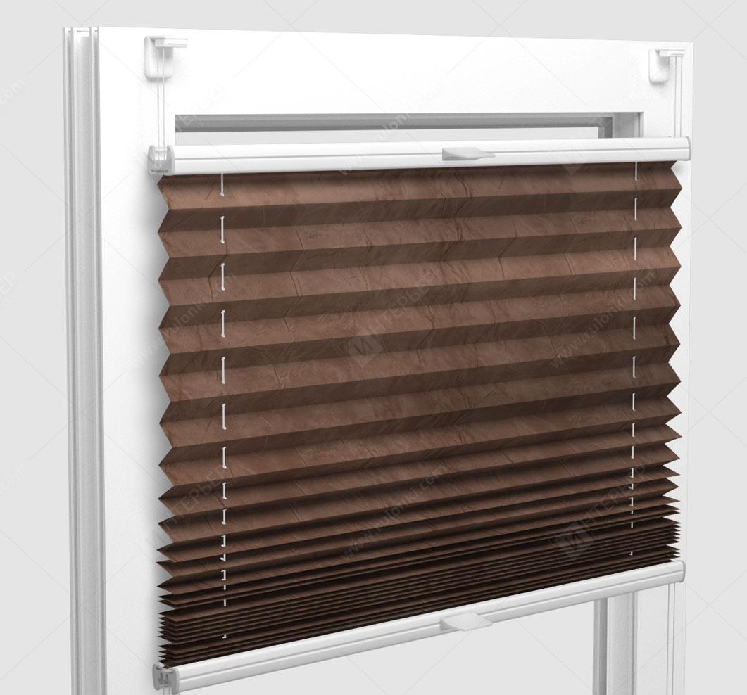 Шторы Плиссе - Краш перл коричневый на пластиковые окна