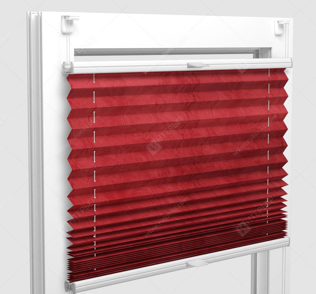 Шторы Плиссе - Краш перл красный на пластиковые окна