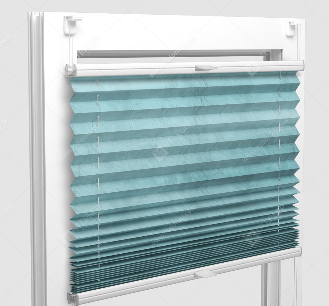 Шторы Плиссе - Краш перл мятный на пластиковые окна
