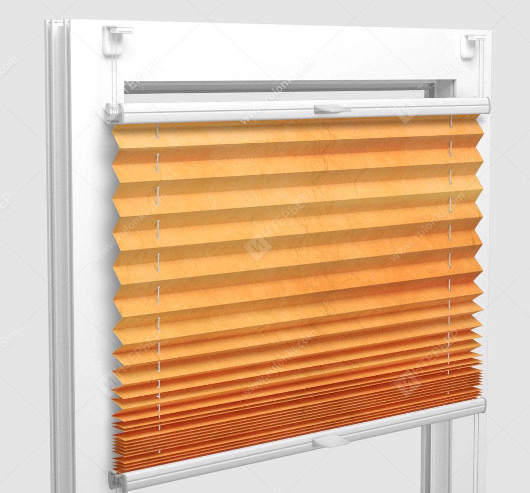 Шторы Плиссе - Краш перл оранжевый на пластиковые окна