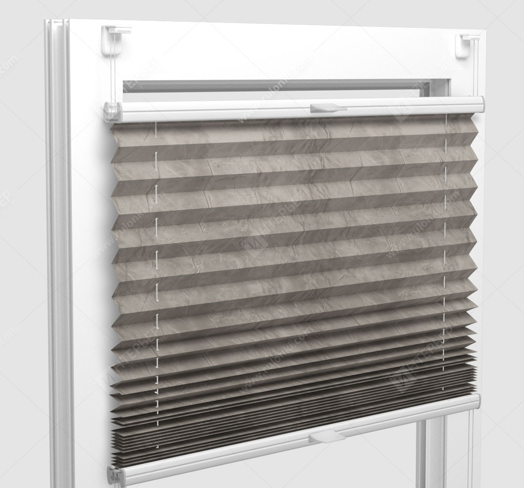 Шторы Плиссе - Краш перл серый на пластиковые окна