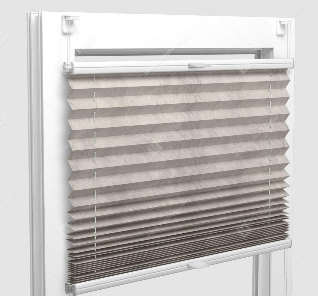 Шторы Плиссе - Краш перл светло-серый на пластиковые окна