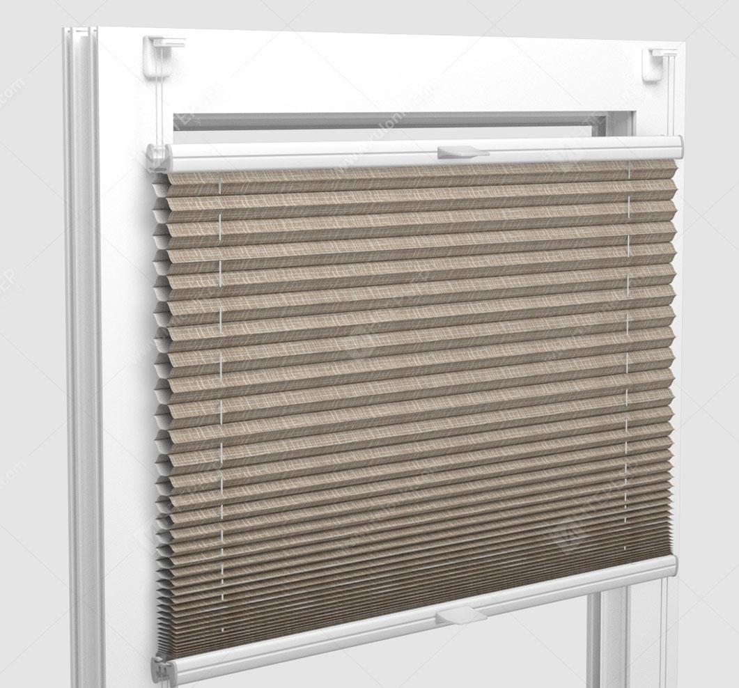 Шторы Плиссе - Оттава блэкаут коричневый на пластиковые окна