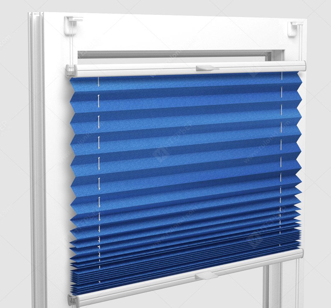 Шторы Плиссе - Шайн голубой на пластиковые окна