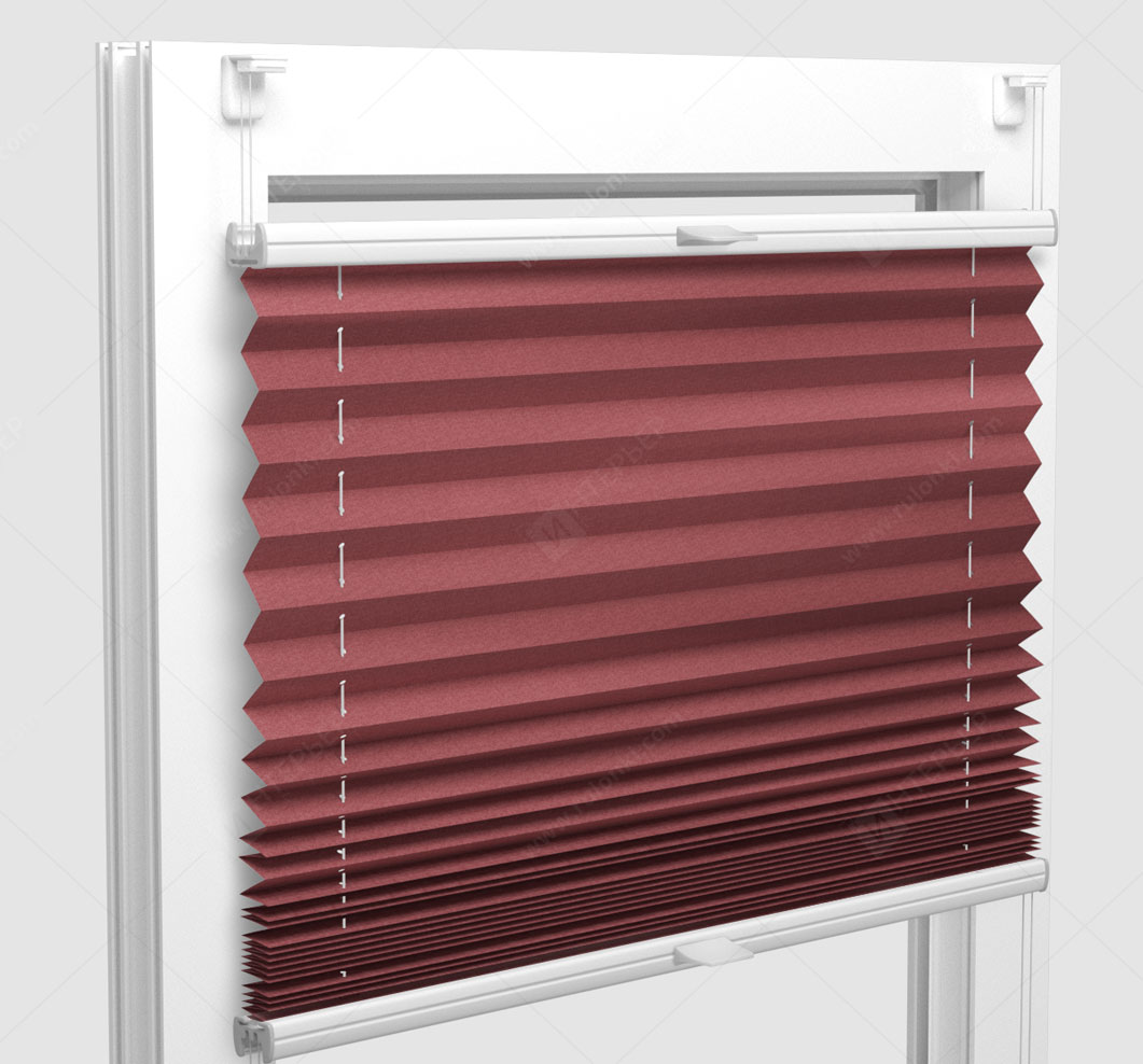 Шторы Плиссе - Шайн красный на пластиковые окна