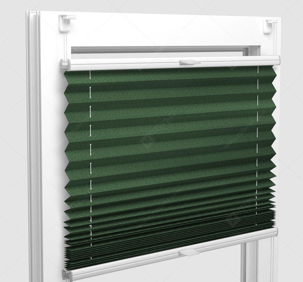 Шторы Плиссе - Шайн темно-зеленый на пластиковые окна