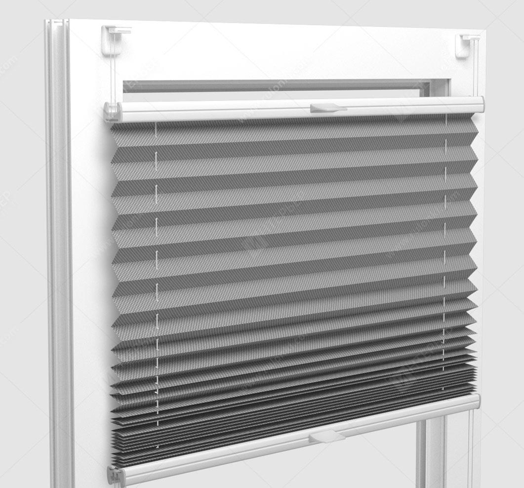 Шторы Плиссе - Силкшейд алю светло-серый на пластиковые окна