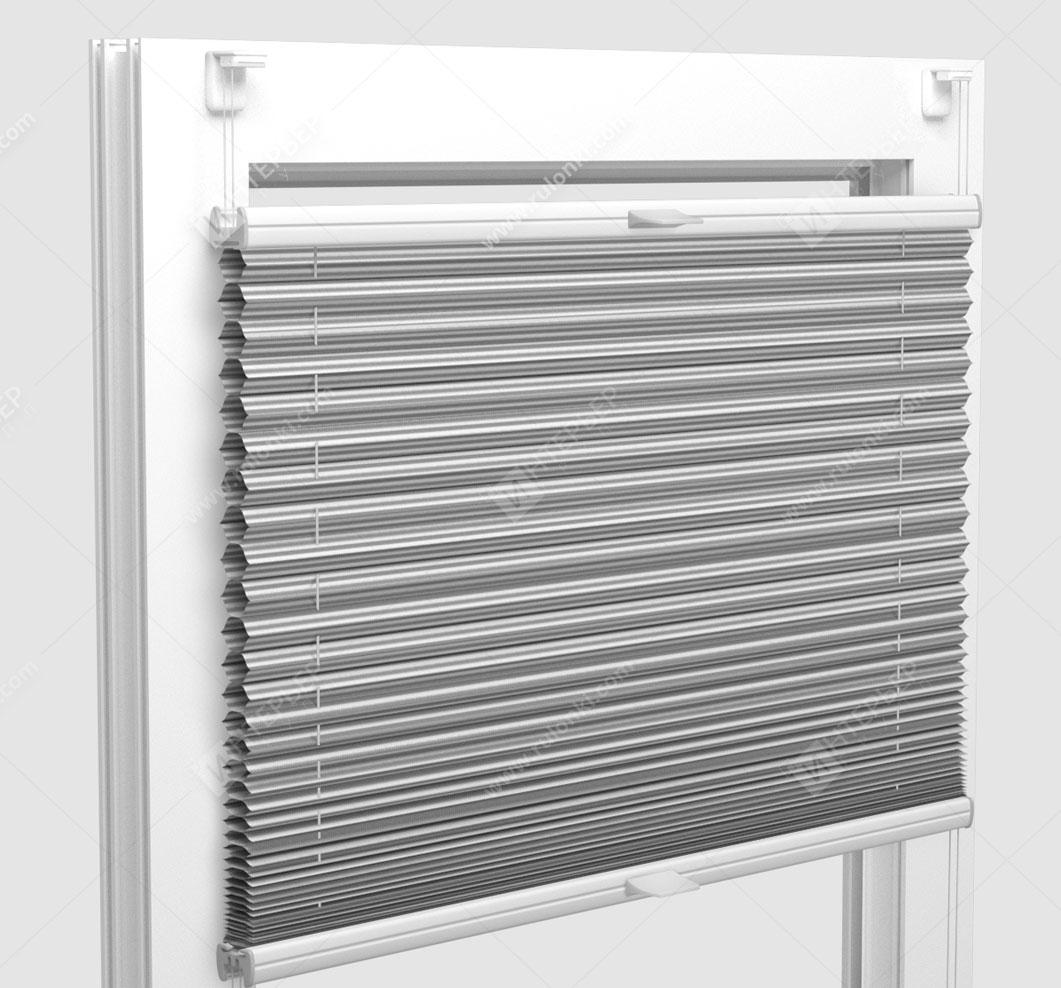 Шторы Плиссе - Тренто серый на пластиковые окна